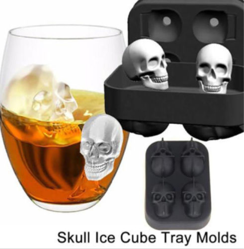 Large Silicone Grenade Skull 3D ICE CUBE Maker Bar Party 4-Cavity Tray Mold Tool