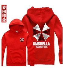 Free shipping 2016 Rushed Regular Zipper Active Knitted Cotton New Biohazard Umbrella Resident Evil hoodies sweatshirt