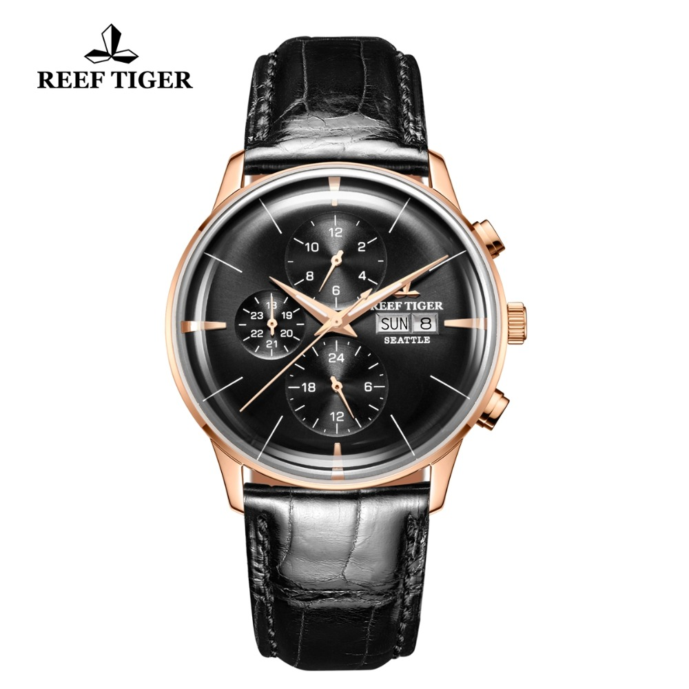 Reef Tiger/RT Luxury Dress Watch Men Multi Function Leather Strap Rose Gold Automatic Watch Date Day RGA1699 вьетнамки reef day prints palm real teal