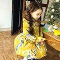Meninas Casaco de Inverno de Moda Flor Impresso Parka Casacos Meninas das Crianças Roupas de Bebê Meninas Parkas Algodão-acolchoado Jacket DQ185
