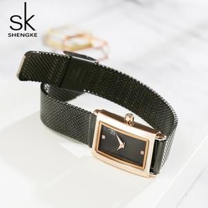 Image 5 - ที่ไม่ซ้ำกันผู้หญิงนาฬิกาสแควร์ Rose Gold Lady Elegant นาฬิกาข้อมือ SHENGKE แบรนด์ Minimalism ชุดลำลองนาฬิกาสำหรับของขวัญหญิงนาฬิกา