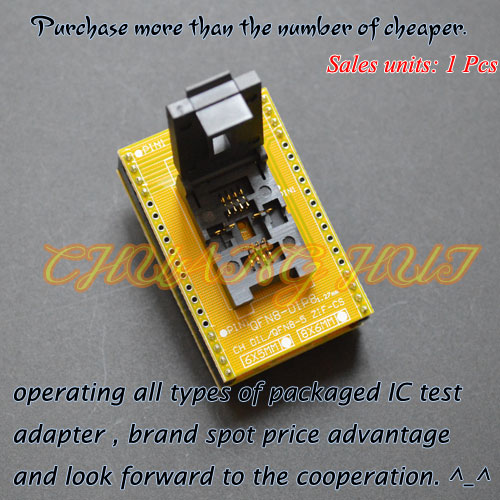 IC TEST QFN-0808-01 Programmer Adapter for 25xxx QFN8 WSON8 DFN8 MLF8 to DIP8 Adapter test socket Pitch=1.27mm Size=6x8mm clamshell qfp144 lqfp144 tqfp144 su h8s2505 tq144 programmer adapter for lp programmer
