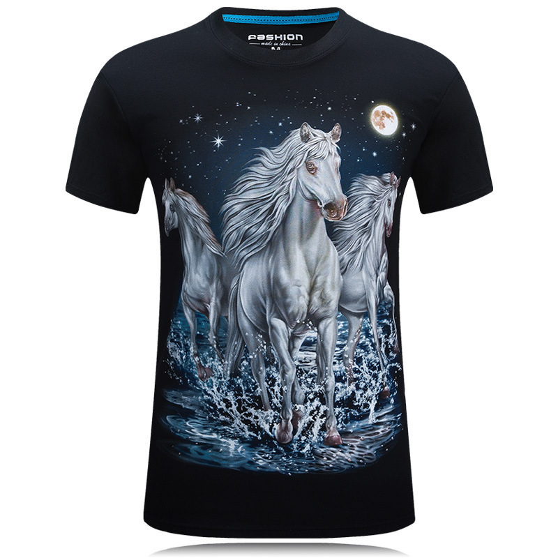3D printed t-shirts Print Horse Long Sleeve Graphic mens Tee shirts Black&Blue Casual Tops Animals T-Shirt t male shirt homme