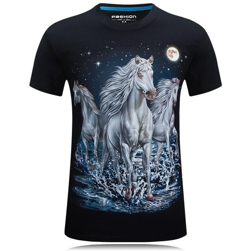 3dプリントtシャツプリント馬ロングスリーブグラフィックメンズtシャツブラック&ブルーカジュアルトップス動物tシャツt男性シャツオム