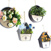 Wall Hanging Household Decor Glass Wall Iron Vase For Artificial Flowers Plants Table Wedding Party Home Garden Decoration Craft