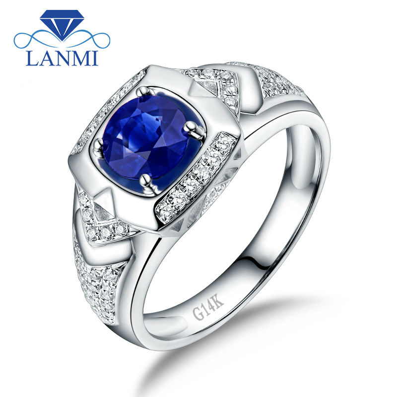 Natural Oval Blue Sapphire Men S Wedding Ring Solid 14k White Gold