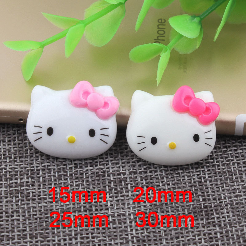 50pcs/Lot Multi Sizes Cute Cat Hello Kitty Cabochon Resin Flatback Ribbon Bow Cabochon for Hair Bow Center Decoration Craft