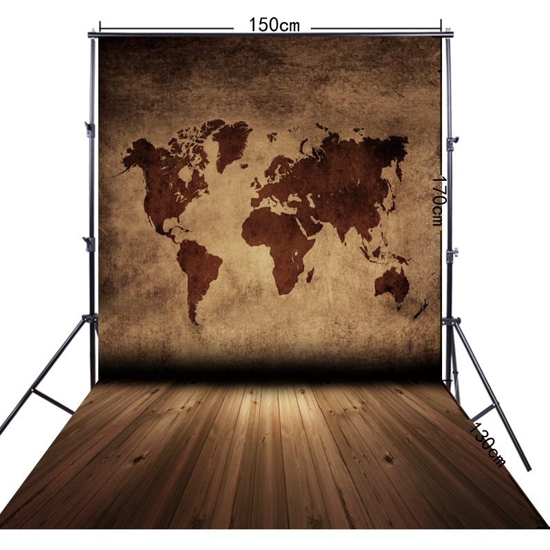 5x10ft(150*300cm) Brown Word Map Photography Backdrop FF-022