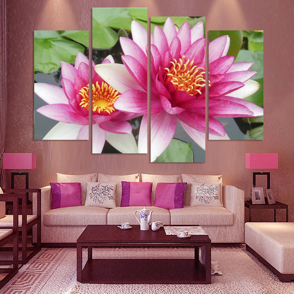 Painting For Living Room Feng Shui Top Rated Paint Colors 4 Panel Wall Art Pictures Botanical Red Pink Lotus Oil On Canvas The Picture Decoration Modul