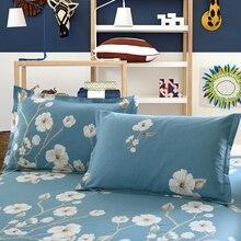 Flores Blancas azules 100% Algodón Doble Almohada Larga Funda de Almohada Almohada Saco 48×120 cm 48×150 cm Funda de almohada Funda de Almohada ropa de Cama