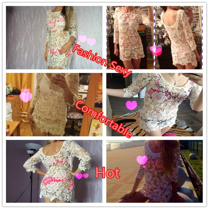 17 Beach Crochet Cover Up for Women Floral Hollow Lace Bikini Cover-Ups Swimwear Women Beach Dress Bathing Suit Cover Ups 1