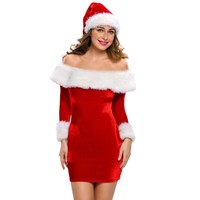 Adult Halloween Costumes For Women Sexy Mini Dress 2016 New Delightful Santa Sweetie Red Christmas Dress