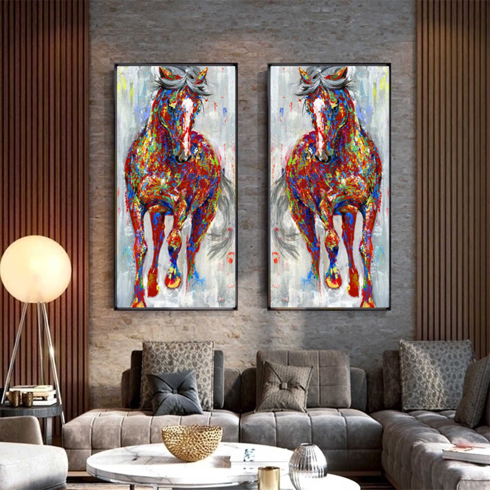 WANGART Larger Original Running Horse Oil Paintings Wall Art Colorful Animal Posters Wall Picture For Living Room Home Decor