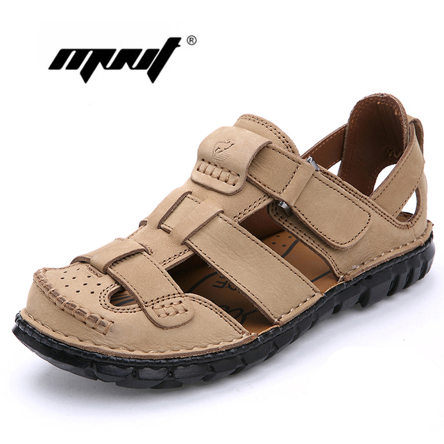 bf963280f7e2e Full Grain Leather Men Sandals Handmade Men Shoes Summer Leather Shoes Top  Quality Beach Sandals Dropshipping