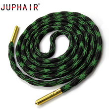 JUPHAIR Outdoor Athletic Sports Thick Round Shoelaces Gold Metal Head Polyester Strong Climbing Shoe Laces Dia 0.5cm