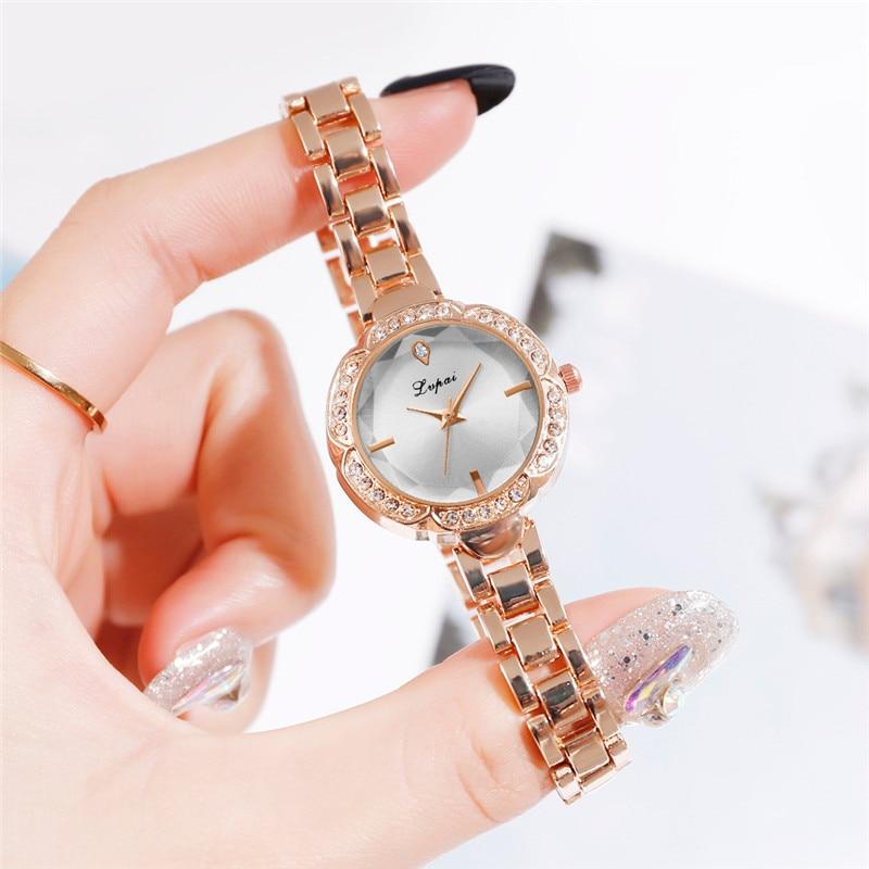 Women Watches New LVPAI Rose gold Silver Ladies Bracelet Watch Lady quartz dress wristwatch Clock Female relogio feminino A4