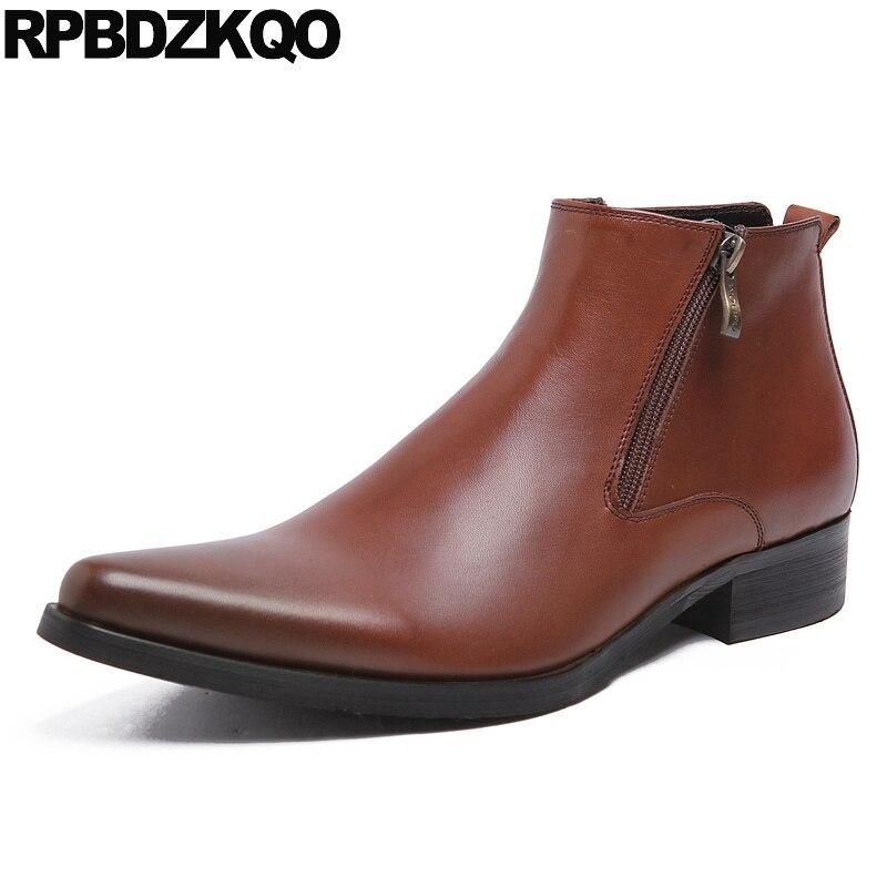 brown Robe Noir 2017 Fleur Chaussons Non Pleine Britannique Style Confortable Cheville Chaussures En Slip Automne Noir Zipper Mens Bottes Véritable Cuir jL534AR