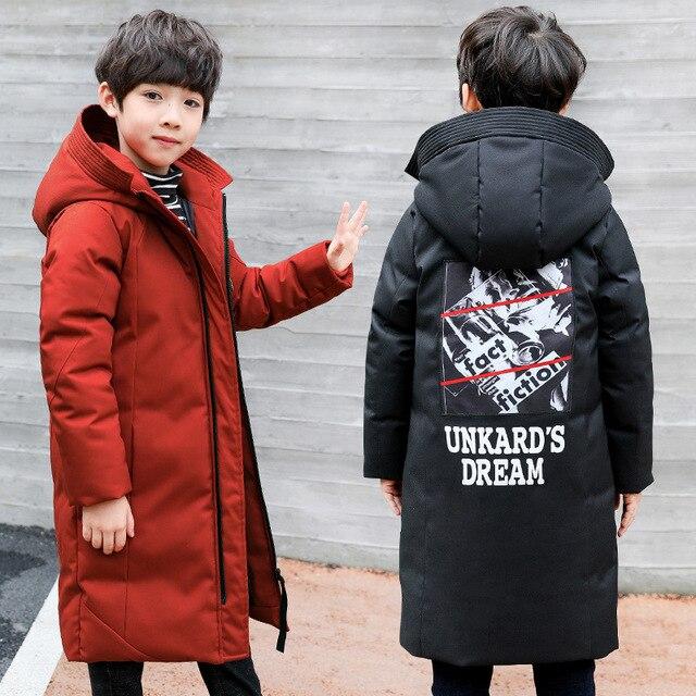 -30 градусов детская одежда 2018 Одежда для мальчиков Теплый Зимний пуховик хлопок куртка с капюшоном пальто Подростковая утепленная верхняя одежда детская парка