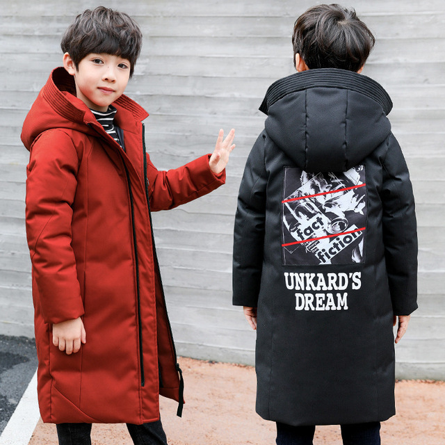 -30 degrees children clothing 2018 boy clothes warm winter down cotton jacket Hooded coat Teenager thicken outerwear kids parka
