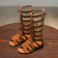 Roman Girls Gladiator Sandals 2017 Summer Children Shoes Girls Shoes Fashion Bowtie High Top Boots Non