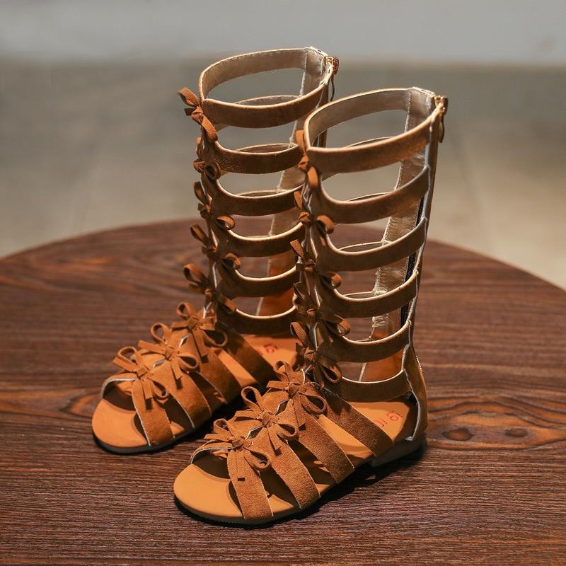 Römische Mädchen Gladiator Sandalen 2018 Sommer Kinder Schuhe Mädchen Schuhe Mode Bowtie High Top Stiefel rutschfeste Kinder Schuhe für Mädchen
