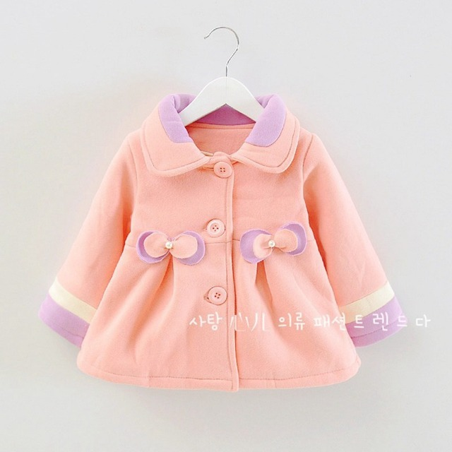 Fashion Winter Baby Infants Kids Girls Princess Bow Doll Woolen Blended  Jackets Cardigan Outwear Coats  S2201