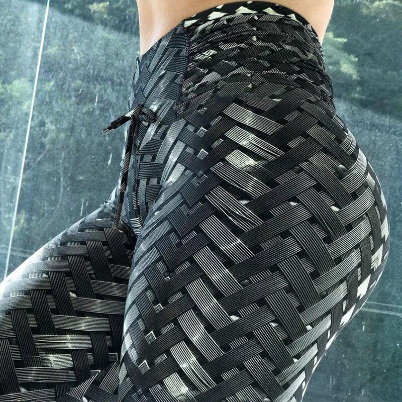 2018 Nova 3D Tecelagem Estilo de Impressão Leggings Colocar Dobra Hip Elástico Cintura Alta Legging Respirável Calças Slim