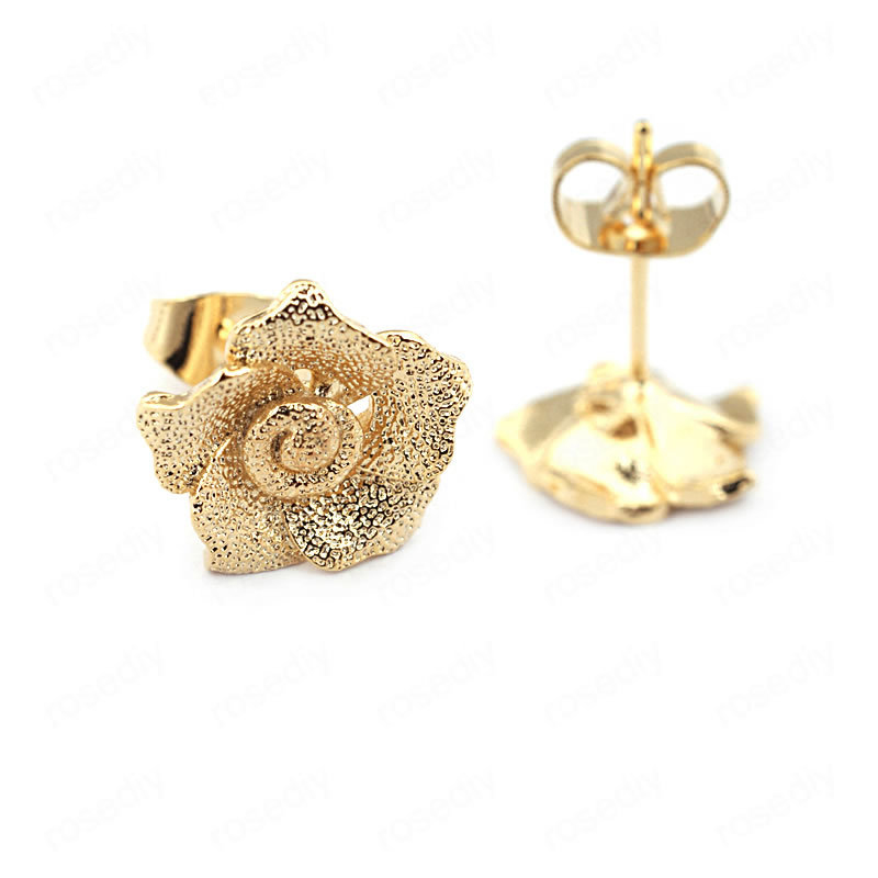 (33721)6PCS Rose 11.5MM 24K Gold Color Brass Frosted Flower Stud Earrings Pins High Quality Jewelry Findings Accessories
