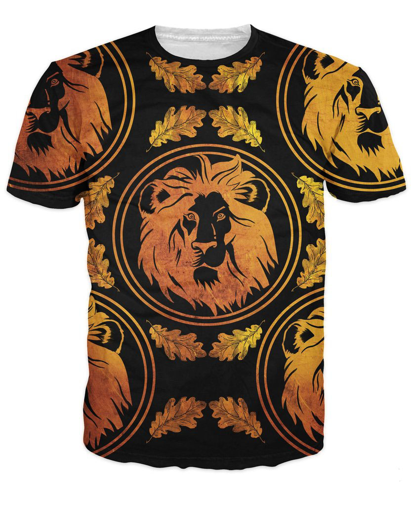 Lion Royalty T-Shirt a Lion with with metallic gold palm leaves around him summer t shirt 3d print women men tops tee