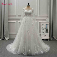 TaooZor Lace Bohemian Wedding Dresses French Lace Long Sleeve Boho Chic Dress Open Back Bridal Gowns