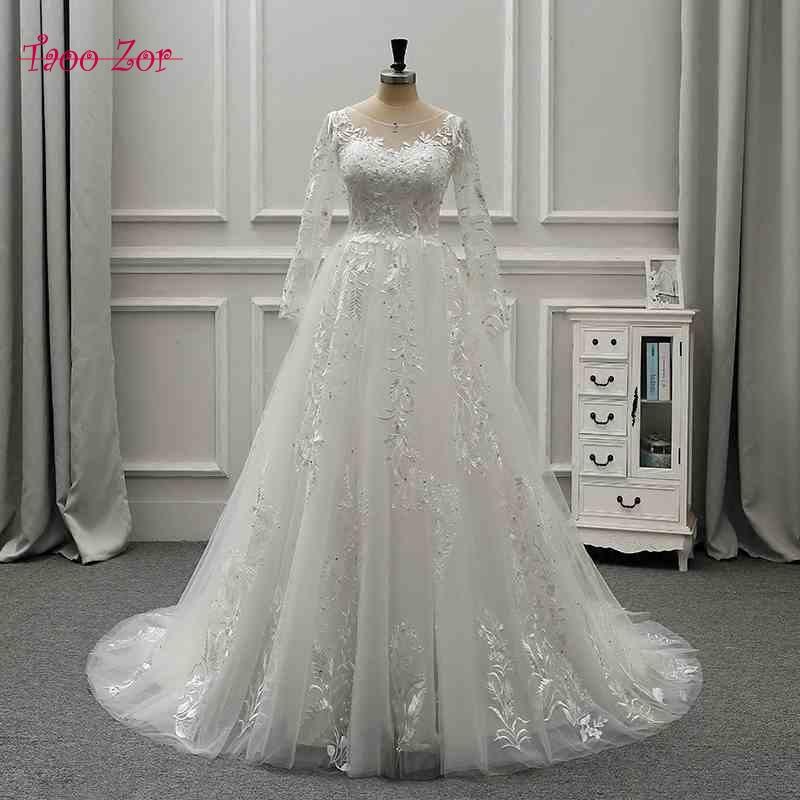 TaooZor Lace Bohemian Wedding Dresses French Lace Long