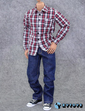 1/6 Scale Male Casual Clothing Model Toys Red White Plaid Shirt Blue Jeans Pants Model  For 12″   Action Figure Body Accessory