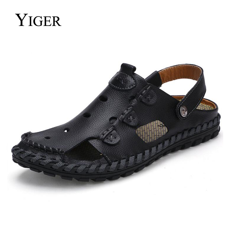 YIGER New Men Sandals Genuine Leather Man Slippers Hole shoes Men Leisure Beach Sandals and Slippers 0081