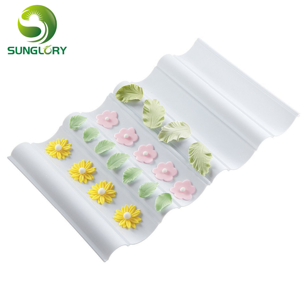 Baking Tools Sugarcraft Fondant DIY Gum Paste Decorating 2PCS Wave Flower Former Set To Dry Cake
