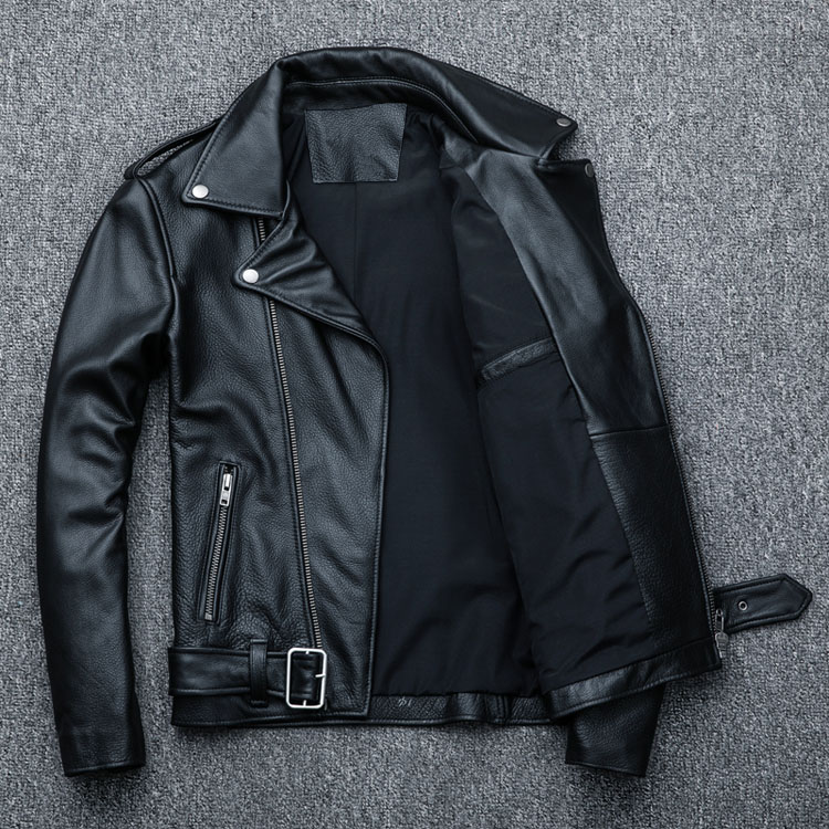 HTB1I8XiKf5TBuNjSspcq6znGFXaW MAPLESTEED Classical Motocycle Jackets Men Leather Jacket 100% Natural Calf Skin Thick Moto Jacket Man Biker Coat Winter M192