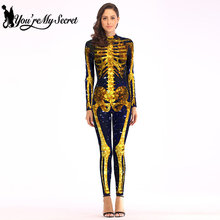 [You're My Secret] 2019 Hot Halloween Gold Skeleton Black Scary Cosplay Costume Fantastic Long Sleeve Party Jumpsuit Bodysuit(China)