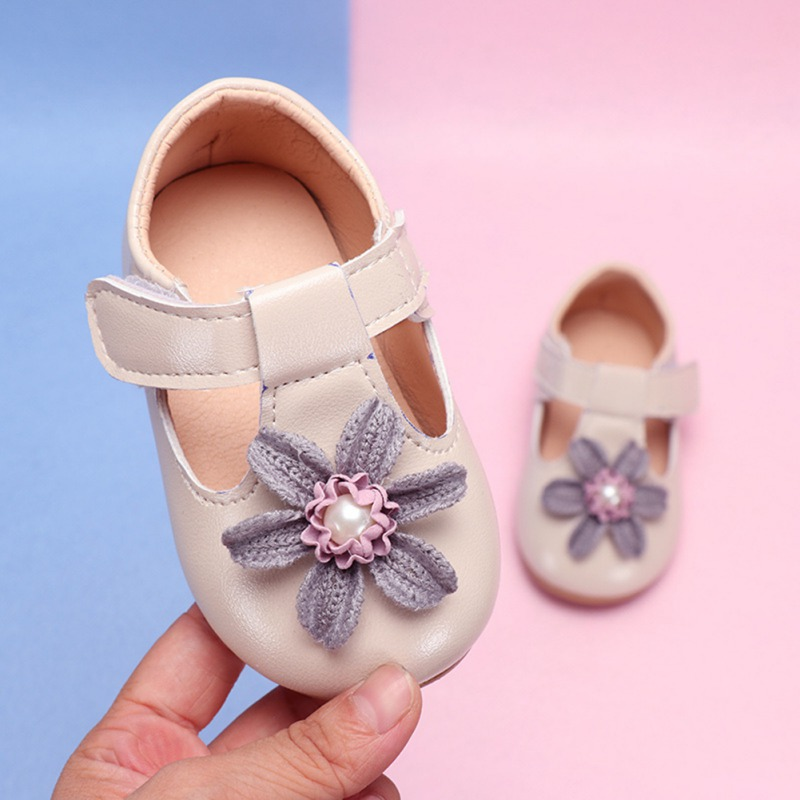 Baby Girl Shoes Lovely Sunflower PU Leather Pink Beige Shoes Anti-Slip Sneakers Soft Sole Toddler Shoes 0-15 Month