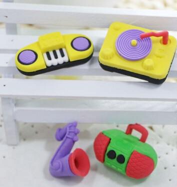 Free Shipping Hot And New Arrival School Eraser Radio Saxophone Eraser Piano Eraser Tape Recorder Eraser