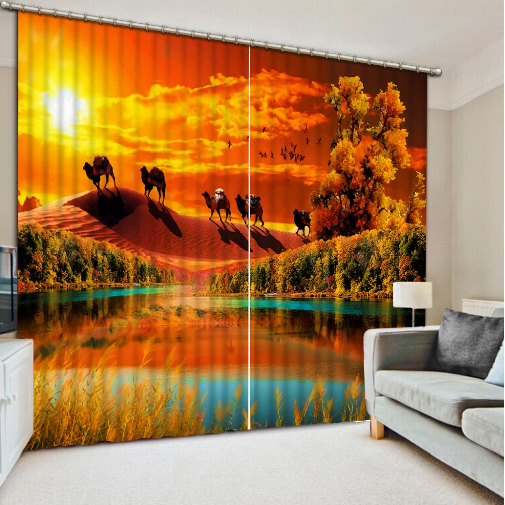 2019 curtains Sunset Lake surface window curtain living room customize blackout bedroom curtains2019 curtains Sunset Lake surface window curtain living room customize blackout bedroom curtains