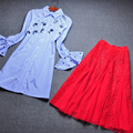 Spring Runway Designer Two Piece Set Women's Flare Sleeve Blue Striped Printed Beading Blouse + Red Gauze Patchwork Skirt Suit
