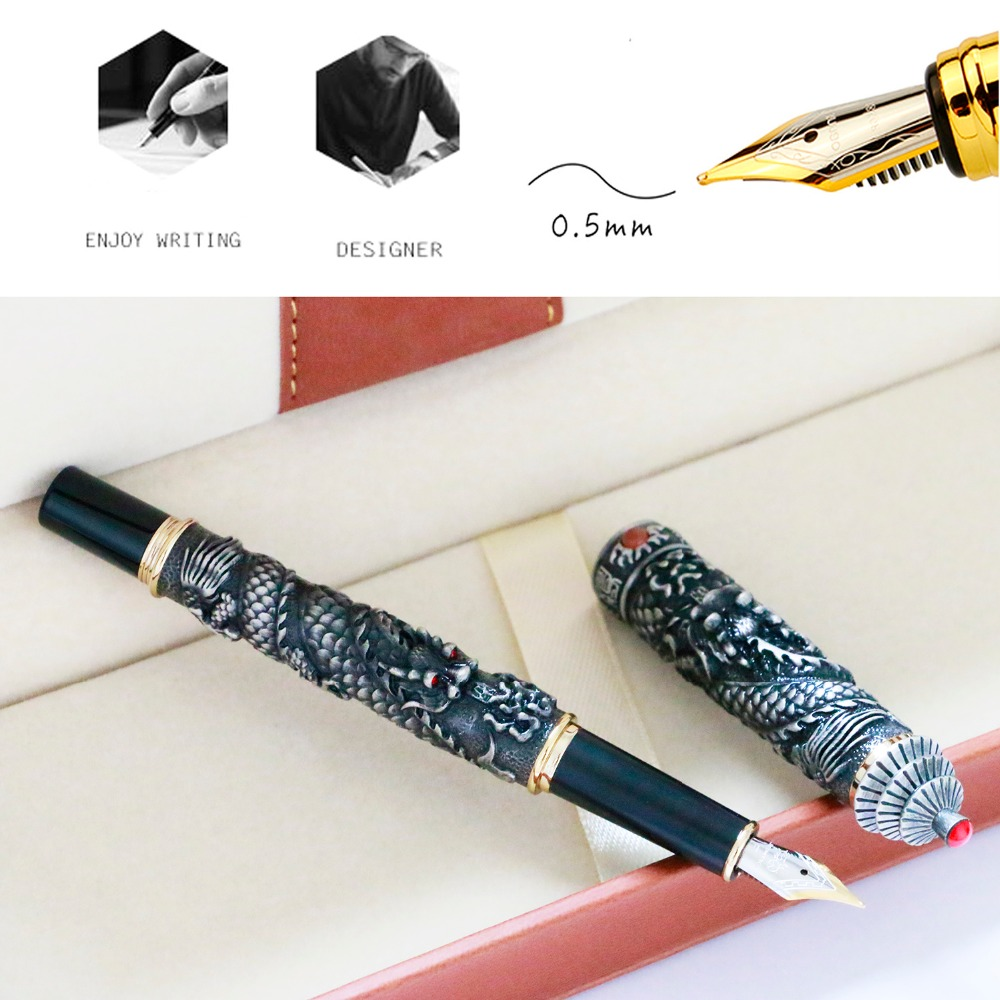 JinHao Double Dragon Jewelry Luxury Fountain Pen Vintage Tower 18KGP 0.5MM Nib Gift Ink Pens Writing Stationery Office Supplies latest design jinhao dragon and phoenix carving fountain pen stationery luxury metal writing gift art collection ink pens