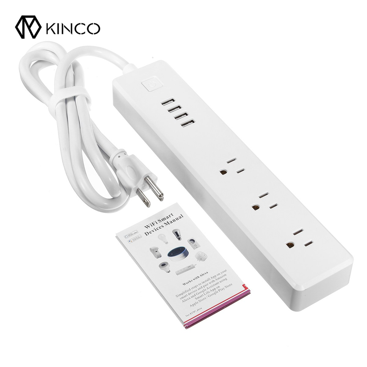 цена на Kinco New Smart Wifi Power Extension Lead US Electrical Plug Outlet Socket Strip 4 USB Charging Ports For Alexa Google Home