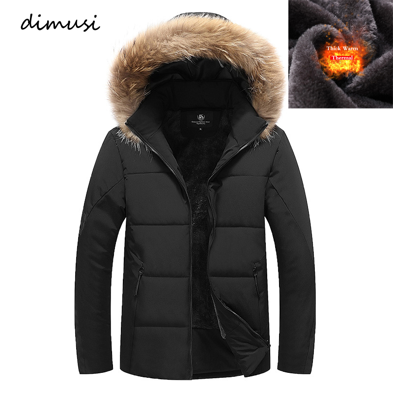 DIMUSI Winter Men Bomber Jacket Thick Thermal Down Cotton   Parkas   Male Casual Hoodies Faux Fur Collar Warm Coats 8XL 9XL,TA223