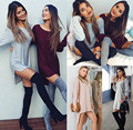 Brand New 2016 Autumn Dress Casual Sexy Long Sleeve Loose Red Gray Pink Dress Asymmetrical Dress Base Women Dresses Vestidos