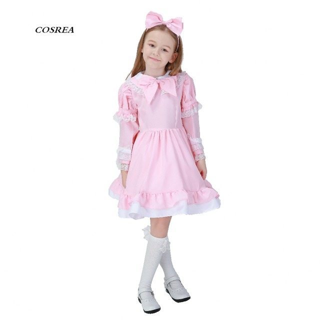 Exceptional COSREA Alice In Wonderland Costume Fancy Lovely Maid Dress Full Set With  Apron Cosplay Costumes Halloween
