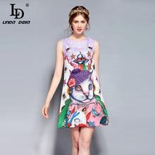 LD LINDA DELLA  New Fashion Designer Runway Summer Dress Womens Sleeveless Tank Cartoon Cats Printed Short vestido
