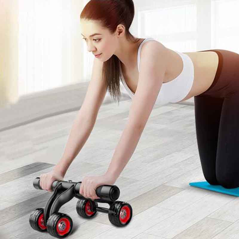 DHL fast shipping free Home Gym Exercise 3-Wheel Abdominal Muscle Abs Belly Wheel Roller with resistance strap