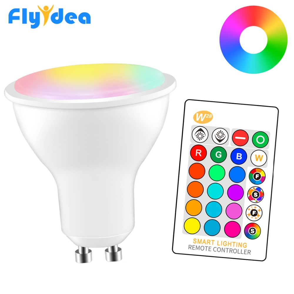 8W LED Changeable Spotlight RGB+White GU10 220/110V Smart Magic Showcase Decorative Lighting Dimmable IR Control Home Light Bulb