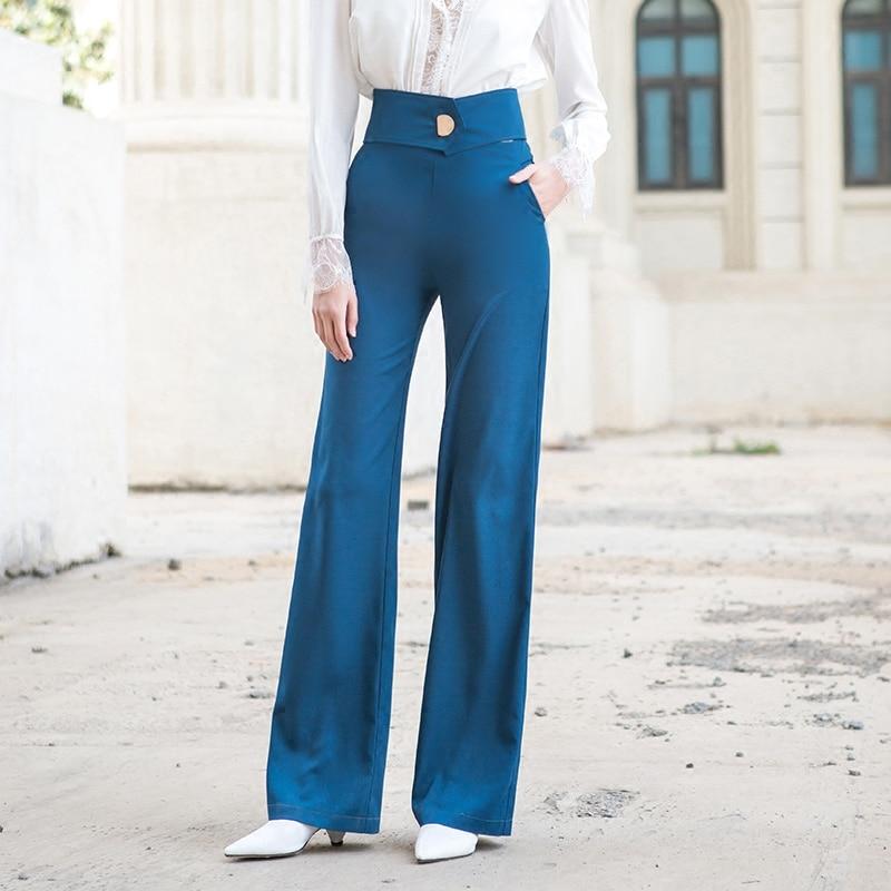 ACRMRAC женские повседневные брюки весна и осень высокая талия брюки тонкие однотонные прямые брюки длинные брюки женские - 2