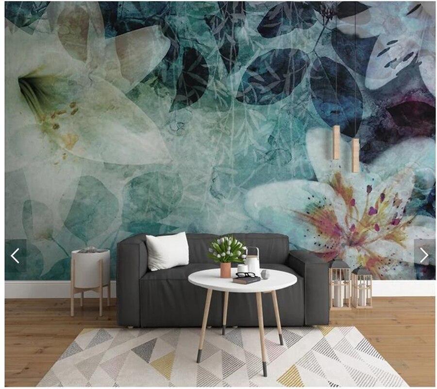 Пользовательские 3D росписи обоев Европейский, абстрактные листья цветы используется для гостиной спальня диван ТВ фоне стены Papel де Parede